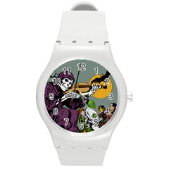 Playing Skeleton Round Plastic Sport Watch (m)