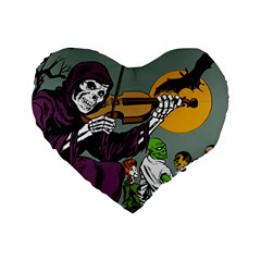 Playing Skeleton Standard 16  Premium Flano Heart Shape Cushions
