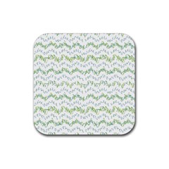 Wavy Linear Seamless Pattern Design  Rubber Square Coaster (4 Pack)
