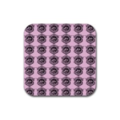 Three Women Pink Rubber Coaster (square)