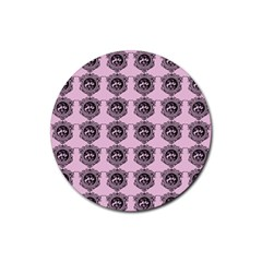 Three Women Pink Rubber Round Coaster (4 Pack)