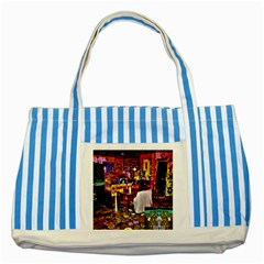 Home Sweet Home Striped Blue Tote Bag