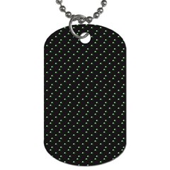 Pink Flowers On Black Dog Tag (two Sides)