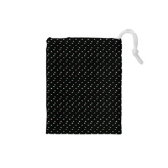 Pink Flowers On Black Drawstring Pouches (small)