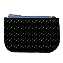 Pink Flowers On Black Large Coin Purse