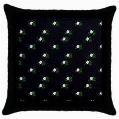 Pink Flowers On Black Big Throw Pillow Case (black)