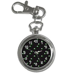 Pink Flowers On Black Big Key Chain Watches