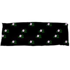 Pink Flowers On Black Big Body Pillow Case (dakimakura)