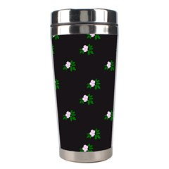 Pink Flowers On Black Big Stainless Steel Travel Tumblers