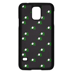 Pink Flowers On Black Big Samsung Galaxy S5 Case (black)