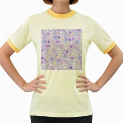 Violet,lavender,cute,floral,pink,purple,pattern,girly,modern,trendy Women s Fitted Ringer T Shirts