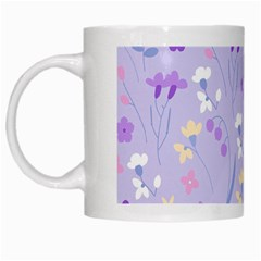Violet,lavender,cute,floral,pink,purple,pattern,girly,modern,trendy White Mugs