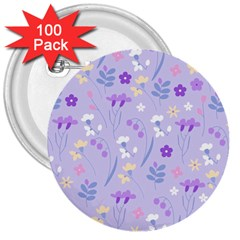 Violet,lavender,cute,floral,pink,purple,pattern,girly,modern,trendy 3  Buttons (100 Pack)