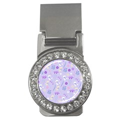 Violet,lavender,cute,floral,pink,purple,pattern,girly,modern,trendy Money Clips (cz)