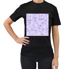 Violet,lavender,cute,floral,pink,purple,pattern,girly,modern,trendy Women s T Shirt (black) (two Sided)