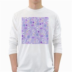 Violet,lavender,cute,floral,pink,purple,pattern,girly,modern,trendy White Long Sleeve T Shirts