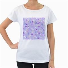 Violet,lavender,cute,floral,pink,purple,pattern,girly,modern,trendy Women s Loose Fit T Shirt (white)