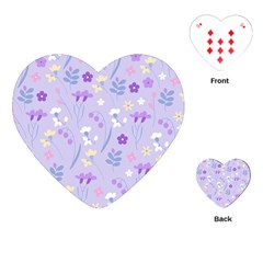 Violet,lavender,cute,floral,pink,purple,pattern,girly,modern,trendy Playing Cards (heart)