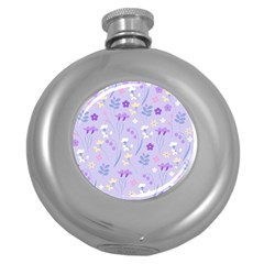 Violet,lavender,cute,floral,pink,purple,pattern,girly,modern,trendy Round Hip Flask (5 Oz)