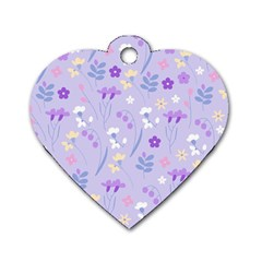 Violet,lavender,cute,floral,pink,purple,pattern,girly,modern,trendy Dog Tag Heart (one Side)