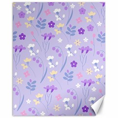 Violet,lavender,cute,floral,pink,purple,pattern,girly,modern,trendy Canvas 11  X 14