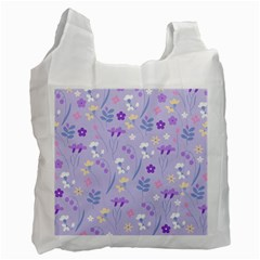 Violet,lavender,cute,floral,pink,purple,pattern,girly,modern,trendy Recycle Bag (two Side)