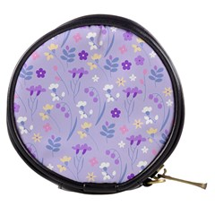 Violet,lavender,cute,floral,pink,purple,pattern,girly,modern,trendy Mini Makeup Bags