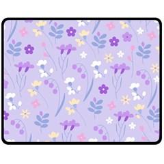 Violet,lavender,cute,floral,pink,purple,pattern,girly,modern,trendy Fleece Blanket (medium)