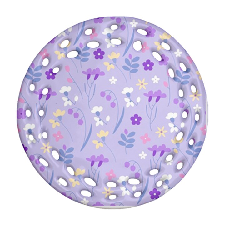 violet,lavender,cute,floral,pink,purple,pattern,girly,modern,trendy Round Filigree Ornament (Two Sides)