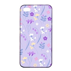 Violet,lavender,cute,floral,pink,purple,pattern,girly,modern,trendy Apple Iphone 4/4s Seamless Case (black)