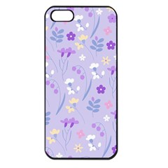 Violet,lavender,cute,floral,pink,purple,pattern,girly,modern,trendy Apple Iphone 5 Seamless Case (black)