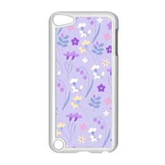 Violet,lavender,cute,floral,pink,purple,pattern,girly,modern,trendy Apple Ipod Touch 5 Case (white)