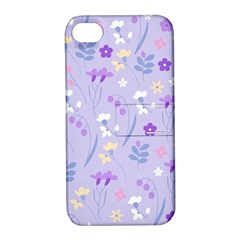 Violet,lavender,cute,floral,pink,purple,pattern,girly,modern,trendy Apple Iphone 4/4s Hardshell Case With Stand