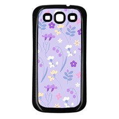 Violet,lavender,cute,floral,pink,purple,pattern,girly,modern,trendy Samsung Galaxy S3 Back Case (black)