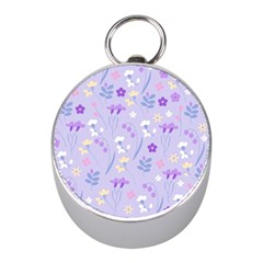 Violet,lavender,cute,floral,pink,purple,pattern,girly,modern,trendy Mini Silver Compasses