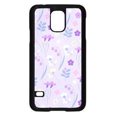 Violet,lavender,cute,floral,pink,purple,pattern,girly,modern,trendy Samsung Galaxy S5 Case (black)