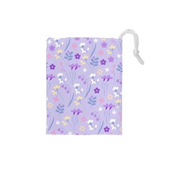 Violet,lavender,cute,floral,pink,purple,pattern,girly,modern,trendy Drawstring Pouches (small)