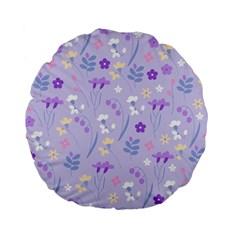 Violet,lavender,cute,floral,pink,purple,pattern,girly,modern,trendy Standard 15  Premium Flano Round Cushions