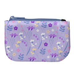 Violet,lavender,cute,floral,pink,purple,pattern,girly,modern,trendy Large Coin Purse