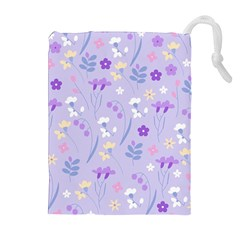 Violet,lavender,cute,floral,pink,purple,pattern,girly,modern,trendy Drawstring Pouches (extra Large)