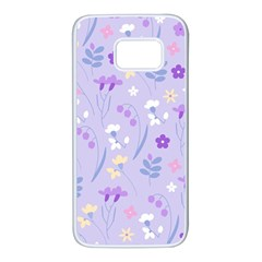 Violet,lavender,cute,floral,pink,purple,pattern,girly,modern,trendy Samsung Galaxy S7 White Seamless Case