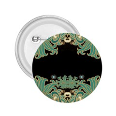 Black,green,gold,art Nouveau,floral,pattern 2 25  Buttons