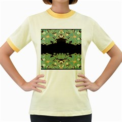 Black,green,gold,art Nouveau,floral,pattern Women s Fitted Ringer T Shirts