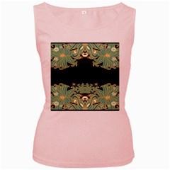 Black,green,gold,art Nouveau,floral,pattern Women s Pink Tank Top