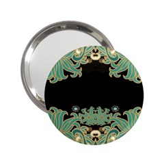 Black,green,gold,art Nouveau,floral,pattern 2 25  Handbag Mirrors