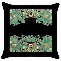 Black,green,gold,art Nouveau,floral,pattern Throw Pillow Case (black)