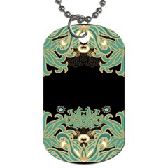 Black,green,gold,art Nouveau,floral,pattern Dog Tag (two Sides)