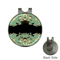 Black,green,gold,art Nouveau,floral,pattern Hat Clips With Golf Markers