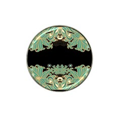 Black,green,gold,art Nouveau,floral,pattern Hat Clip Ball Marker