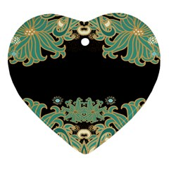 Black,green,gold,art Nouveau,floral,pattern Heart Ornament (two Sides)
